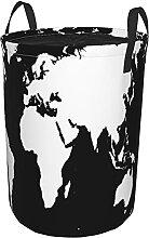 Panier à linge rond,carte du monde noir et