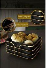 Panier à pain en acier inoxydable noir, boîte de
