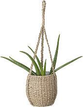 Panier cache pot à suspendre avec corde en herbes