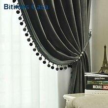 Panneau rideau en velours occultant avec Pompon de