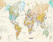 Papier peint 3D avec motif carte du monde - 200 x