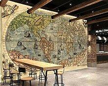 Papier peint 3D Motif carte du monde ancienne 250