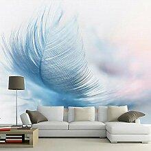 Papier Peint 3D,Motif De Texture De Plume Bleue