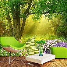 Papier peint 3D stéréo, paysage de forêt verte,