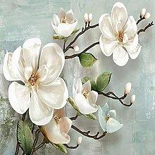 Papier Peint 3D,Vintage 3D Magnolia Fleur Branche