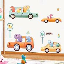 Papier peint auto-adhésif dinosaure voiture