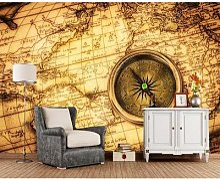 Papier peint boussole vintage carte du monde
