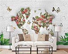 Papier peint carte du monde feuilles vertes