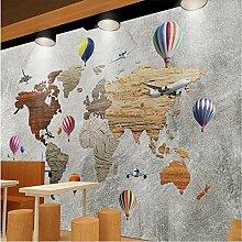 Papier peint mural en tissu Motif avion et carte