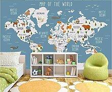 Papier Peint Panoramique 3D Carte Du Monde En