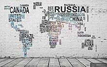 Papier Peint Panoramique Carte Du Monde Anglais De