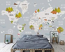Papier Peint Panoramique Carte Du Monde De Dessin