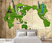 Papier Peint Panoramique Carte Du Monde Herbe