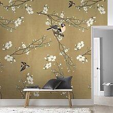 Papier peint panoramique printemps Japonais beige