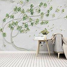 Papier Peint Photo Arbre fruitier en relief vert