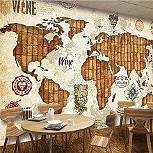 Papier peint rétro carte du monde vin liège