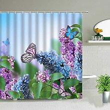 Papillon Plante Fleur Paysage Rideaux De Douche
