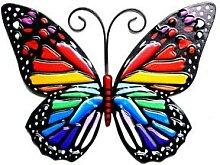 Papillon suspendu en fer coloré, décoration