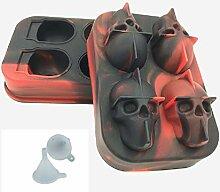 Paquet de 2 plateaux à glaçons 3D Skull, pour