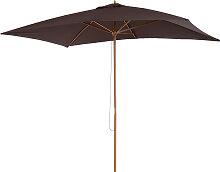 Parasol droit rectangulaire chocolat