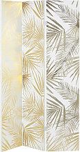 Paravent imprimé feuillage blanc et doré