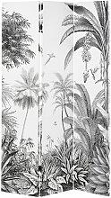 Paravent imprimé forêt tropicale noir et blanc