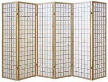 Paravent japonais bois naturel 6 parties 190