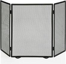 Pare-feu de cheminée en métal noir 3 panneaux