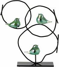 Paris Prix - Statuette Déco 3 Oiseaux 34cm Vert