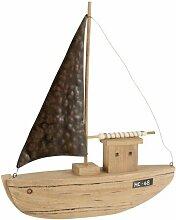Paris Prix - Statuette En Bois bateau Déco 46cm