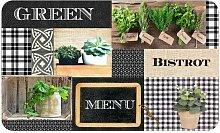 Paris Prix - Tapis De Cuisine Mousse green Bistrot