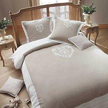 Parure de lit 240 x 260 cm en coton beige