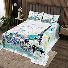 Parure de lit avec couvre-lit en microfibre et