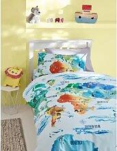 Parure de lit en coton à imprimé carte du monde