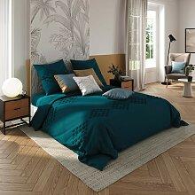 Parure de lit en coton lavé tufté, bleu canard