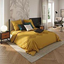 Parure de lit en coton lavé tufté, jaune