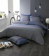 Parure de lit Enzo bleu satin de coton