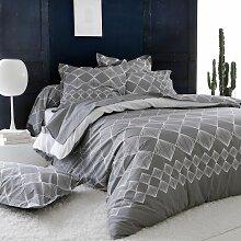 Parure de lit Forever gris coton imprimé
