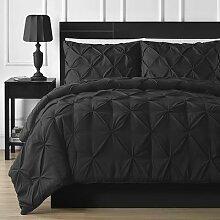 Parure de lit noire et blanche, ensemble de