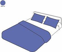 Parure de lit uni bleu lin coton