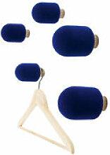 Patère Micro / Set de 5 - Moustache bleu en tissu