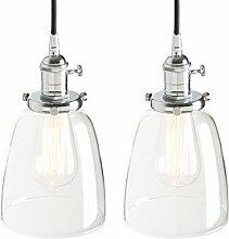 Pathson Lot de 2 lampes suspendues Edison vintage