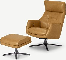 Paxton, fauteuil inclinable et repose-pieds, cuir