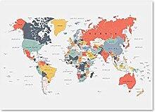 PEEKEON Poster de la carte du monde Imprimer