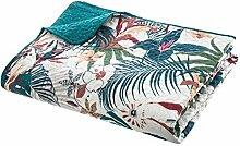 PEGANE Dessus de lit Bleu Canard imprimé Jungle -