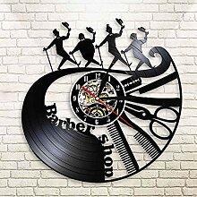Peigne Ciseaux Rasoir Coiffeur Horloge Murale 3D