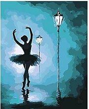 Peinte à la Main Peinture Danseur sous la lampe