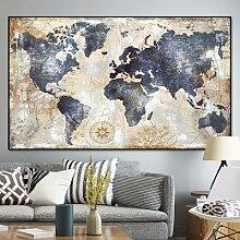 Peinture à l'huile aquarelle sur toile, carte