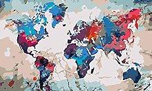 Peinture À L'Huile Bricolage Carte Du Monde
