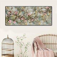 Peinture à l'huile sur toile avec fleurs de